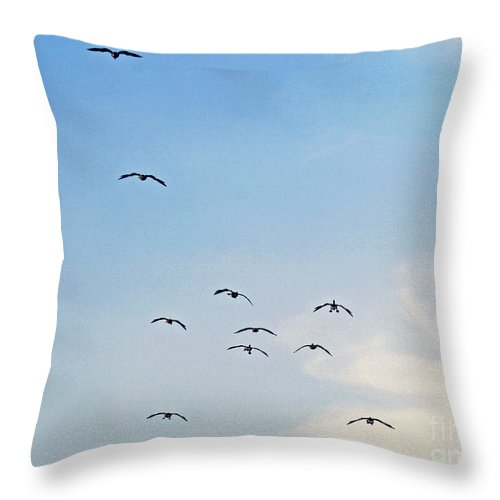 Geese Throw Pillow featuring the photograph Geese Flying by Karen Adams