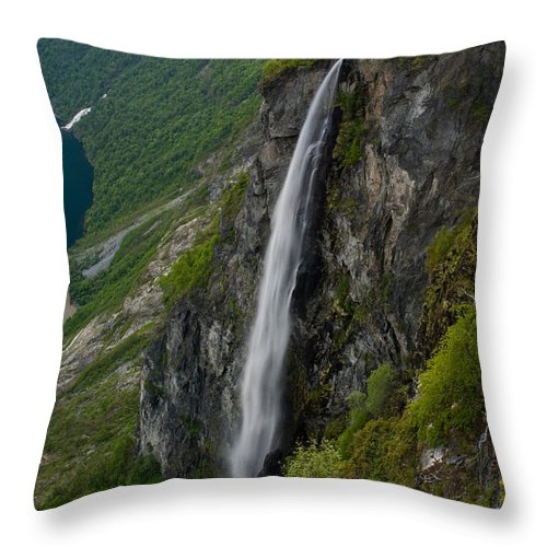 Waterfall Throw Pillow featuring the photograph Geirangerfjord Waterfall by Benjamin Reed