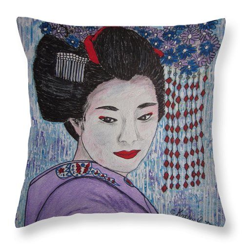 Oriental Throw Pillow featuring the painting Geisha Girl by Kathy Marrs Chandler