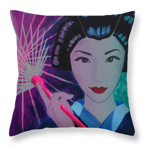 Japan Throw Pillow featuring the painting Geisha Girl by Tommy Midyette