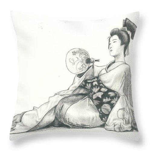 Geisha Throw Pillow featuring the drawing Geisha Iv by Nathalie Ando