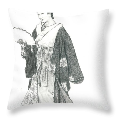 Geisha Throw Pillow featuring the drawing Geisha Vi by Nathalie Ando