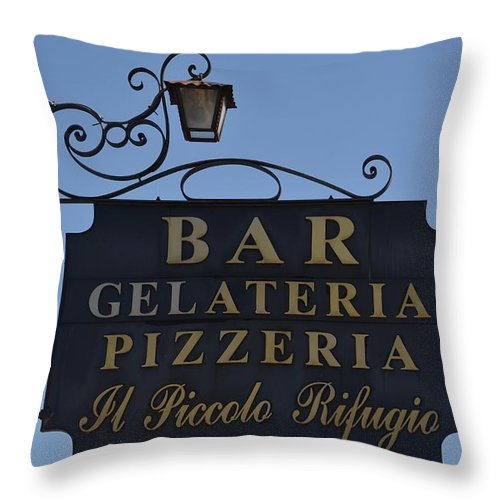 Gelateria Throw Pillow featuring the photograph Gelateria Pizzeria by Dany Lison