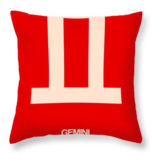 Gemini Throw Pillow featuring the digital art Gemini Zodiac Sign White On Red by Naxart Studio