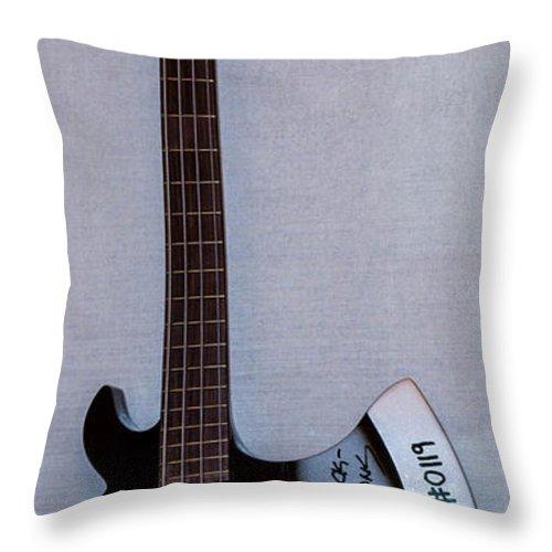 Gene Simmons Throw Pillow featuring the photograph Gene Simmons Hatchet Bass Guitar by Gary Keesler