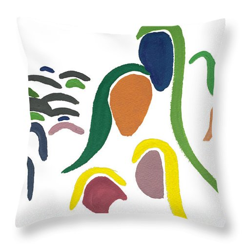 Contemporary Throw Pillow featuring the painting Generations by Bjorn Sjogren