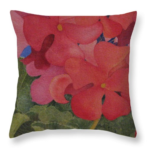 Florals Throw Pillow featuring the painting Generium by Mary Ellen Mueller Legault