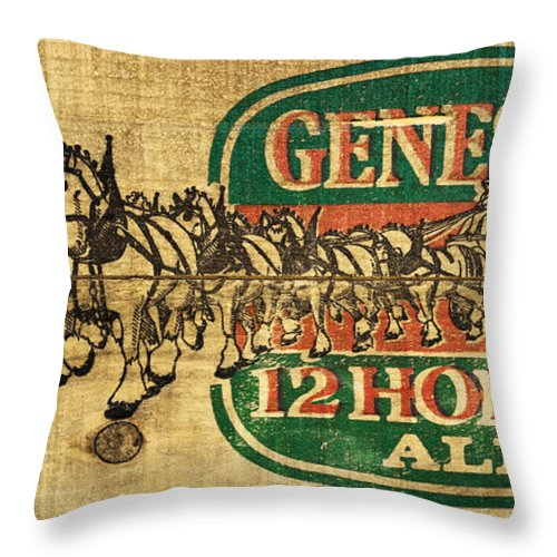 Genesee 12 Horse Ale Throw Pillow featuring the photograph Genesee 12 Horse Ale by Barbara McMahon