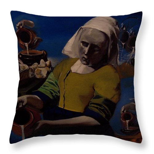 Throw Pillow featuring the painting Geological Milk Maid Anthropomorphasized by Jude Darrien