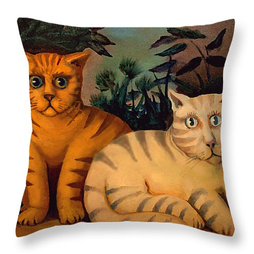 Cats Throw Pillow featuring the painting George And Martha by Delio Paradise