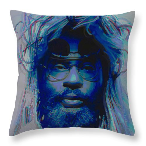 Hair Throw Pillow featuring the painting George Clinton by Fli Art