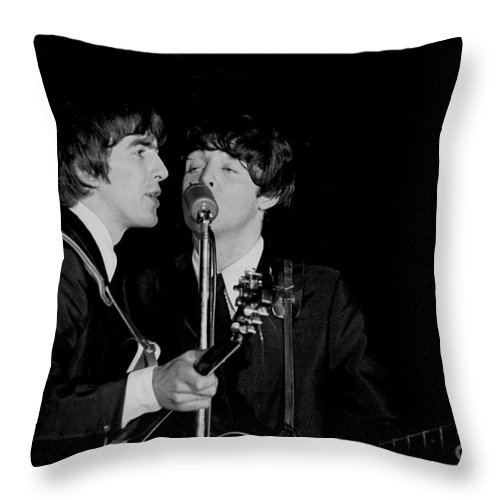 Beatles Throw Pillow featuring the photograph George Harrison & Paul Mccartney by Larry Mulvehill
