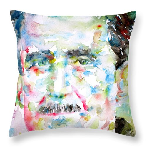George Throw Pillow featuring the painting George Orwell by Fabrizio Cassetta