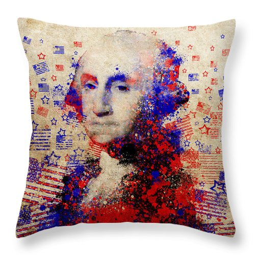 George Washington Throw Pillow featuring the painting George Washington 3 by Bekim Art