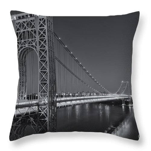 Clarence Holmes Throw Pillow featuring the photograph George Washington Bridge Twilight II by Clarence Holmes