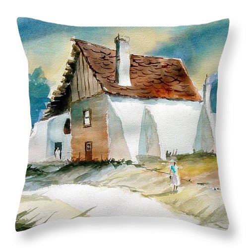 House Throw Pillow featuring the painting George's House by Sam Sidders