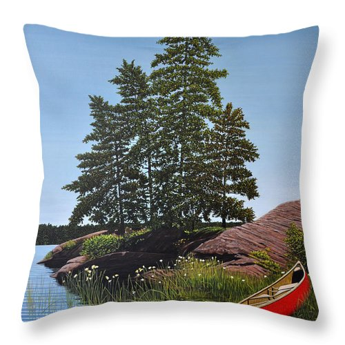Landscapes Throw Pillow featuring the painting Georgian Bay Beached Canoe by Kenneth M Kirsch