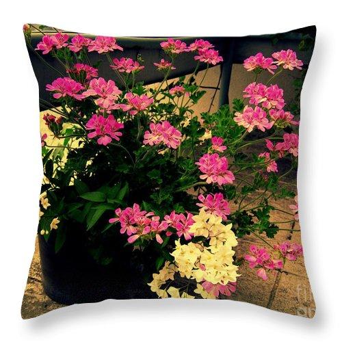 Geranium Throw Pillow featuring the photograph Geranium And Jasmine by Susanne Van Hulst