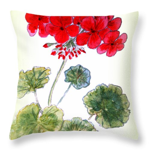 Geranium Throw Pillow featuring the painting Geranium by Donna Walsh