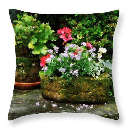 Flower Throw Pillow featuring the photograph Geraniums And Lavender Flowers On Stone Steps by Susan Savad