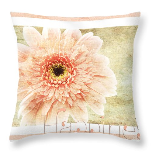 Gerber Throw Pillow featuring the photograph Gerber Daisy Happiness 1 by Andee Design