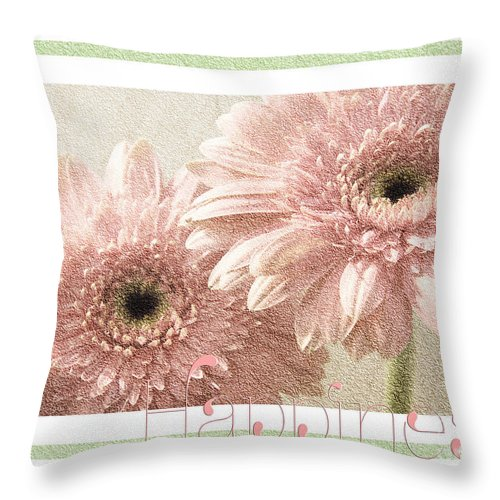 Gerber Throw Pillow featuring the photograph Gerber Daisy Happiness 3 by Andee Design