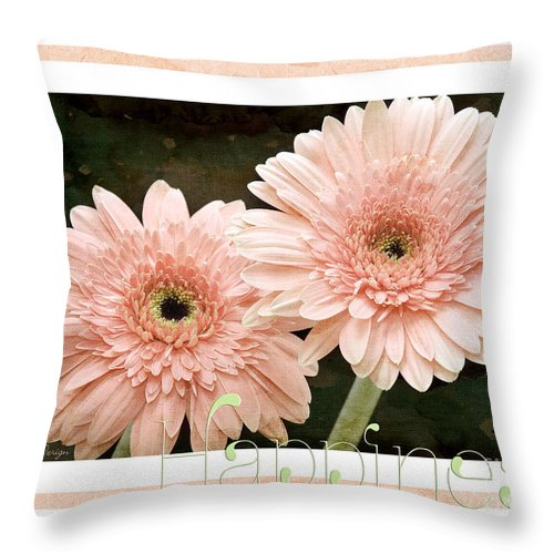 Gerber Throw Pillow featuring the photograph Gerber Daisy Happiness 5 by Andee Design