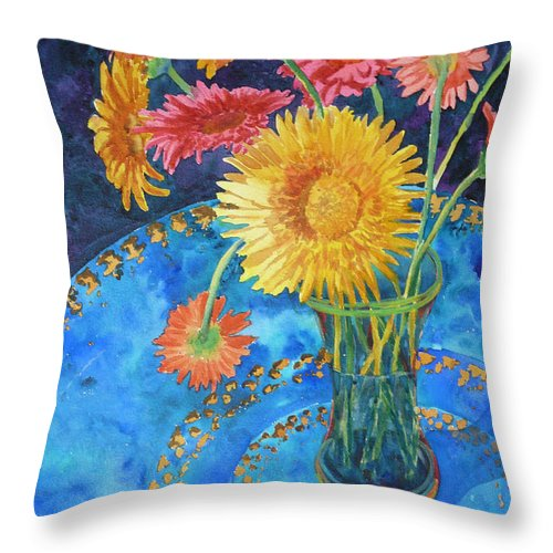 Flowers Throw Pillow featuring the painting Gerberas by Yvonne Ankerman