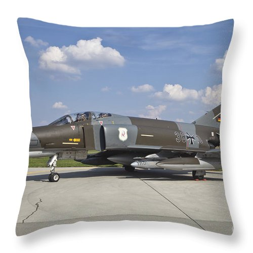 Czech Republic Throw Pillow featuring the photograph German Air Force F-4f Phantom II by Timm Ziegenthaler