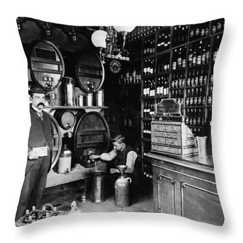 Rathskellar Throw Pillow featuring the photograph German Rathskellar 1900 by Daniel Hagerman