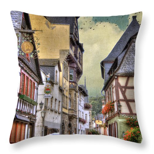 Bacharach Throw Pillow featuring the photograph German Village by Juli Scalzi