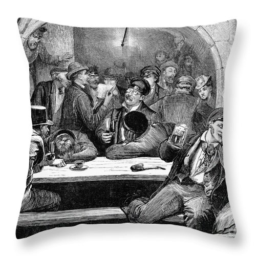 1875 Throw Pillow featuring the photograph Germany: Beer Cellar, 1875 by Granger