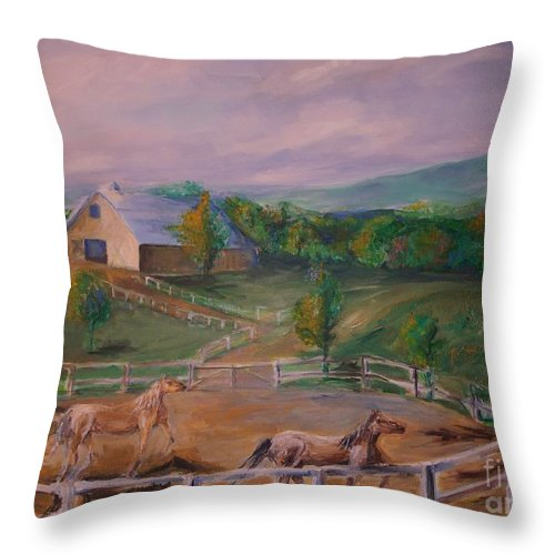 Pennsylvania Throw Pillow featuring the painting Gettysburg Farm by Eric Schiabor