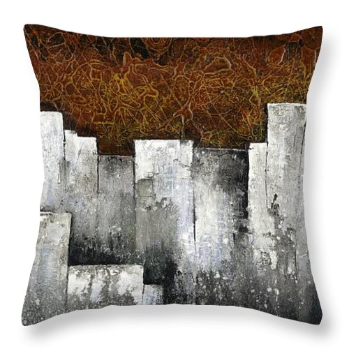 City Scape Throw Pillow featuring the painting Ghost City by Shadia Derbyshire