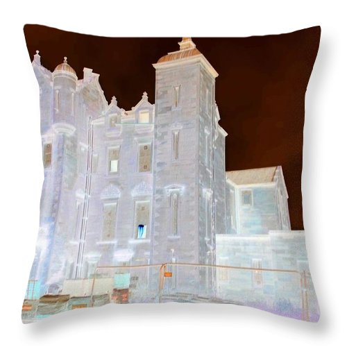 Dunlop Manor Throw Pillow featuring the photograph Ghost Manor Of Darkling Moor by James Potts