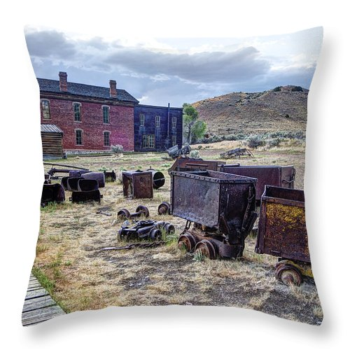 Bannack Throw Pillow featuring the photograph Ghost Mining Town Of Montana by Daniel Hagerman