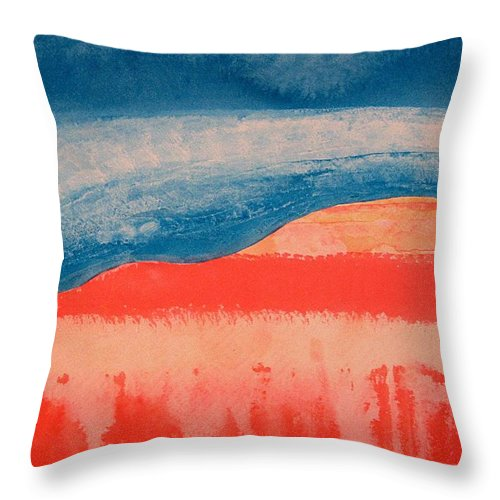Georgia O'keeffe Throw Pillow featuring the painting Ghost Ranch Original Painting by Sol Luckman
