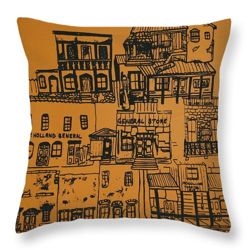 Silkscreen Throw Pillow featuring the painting Ghost Town by Erika Chamberlin