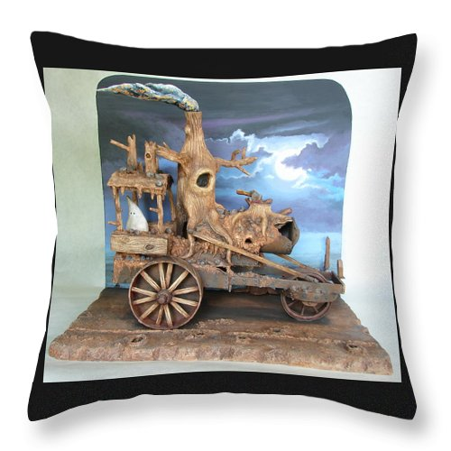 Ghost Throw Pillow featuring the sculpture Ghost Tractor by Stuart Swartz