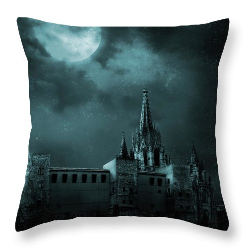 Gothic Style Throw Pillow featuring the photograph Ghosts In The Empty Town by Vladgans