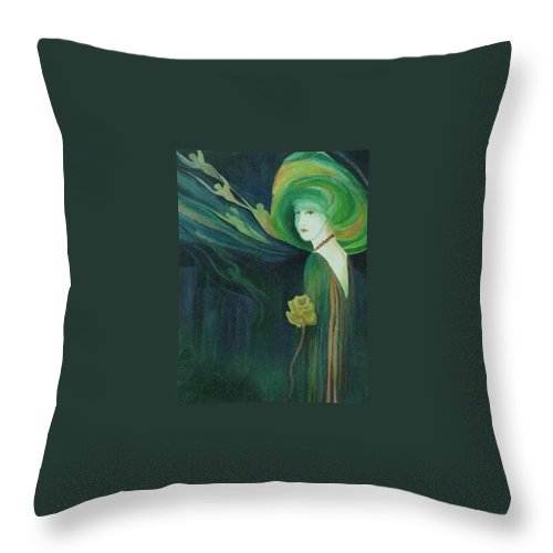 Women Throw Pillow featuring the painting My Haunted Past by Carolyn LeGrand