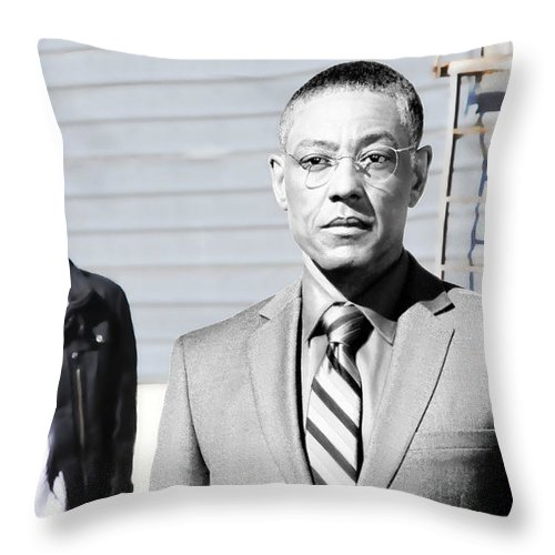 Aaron Paul Throw Pillow featuring the digital art Giancarlo Esposito as Gustavo Fring and Aaron Paul as Jesse Pinkman @ TV serie Breaking Bad by Gabriel T Toro