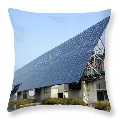 Solar Panel Wall >> Giant Solar Panel Wall In Taiwan Throw Pillow For Sale By Yali Shi