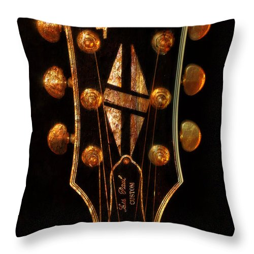 Les Paul Throw Pillow featuring the photograph Les Paul - Gibson Headstock by Deena Athans
