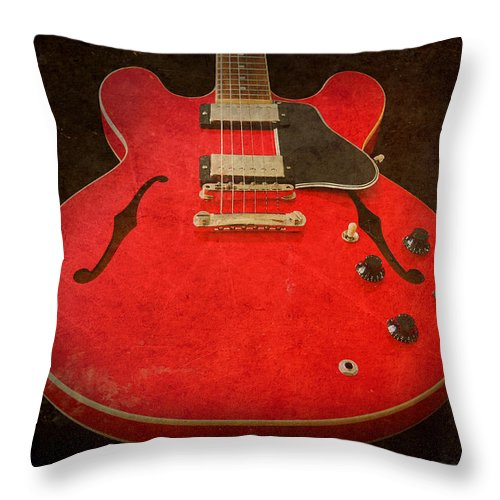 Guitar Throw Pillow featuring the photograph Gibson Es-335 Electric Guitar Body by John Cardamone