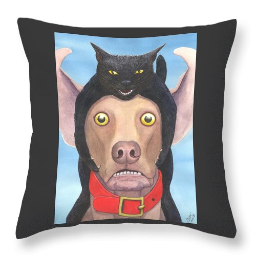 Cat Throw Pillow featuring the painting Giddyup Pink Dog by Catherine G McElroy