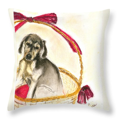 Dog Throw Pillow featuring the drawing Gift Basket by Cori Solomon
