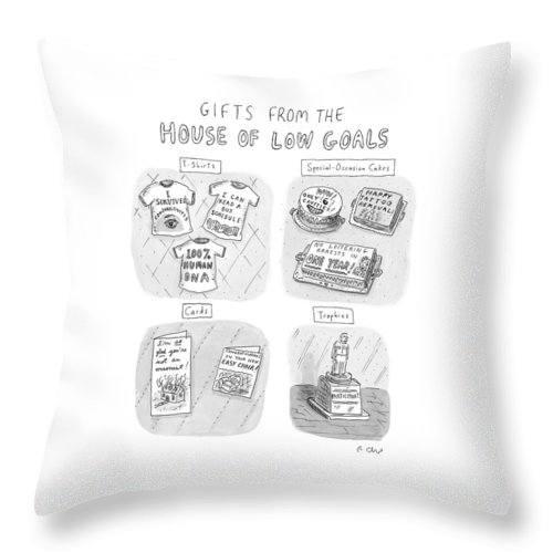 Gifts From The House Of Low Goals Throw Pillow featuring the drawing Gifts From The House Of Low Goals by Roz Chast
