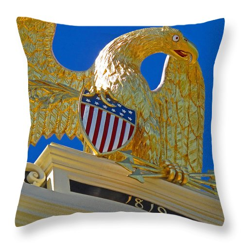 Eagle Throw Pillow featuring the photograph Gilded Eagle by Barbara McDevitt