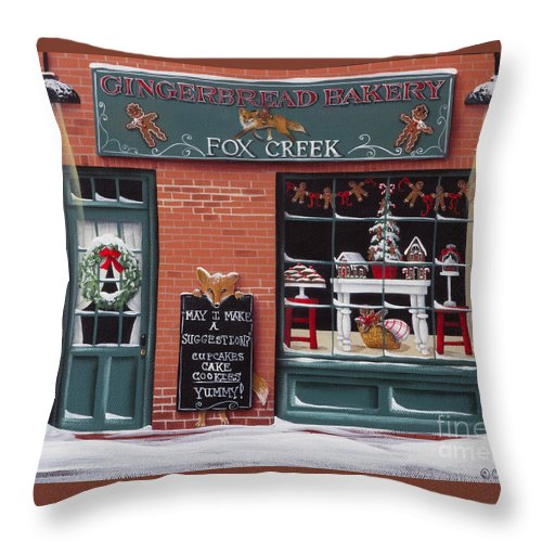 Art Throw Pillow featuring the painting Gingerbread Bakery At Fox Creek by Catherine Holman